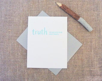 Letterpress Greeting Card - Baby + New Parent Card - TRUTHnote - Great Parents - TRN-013