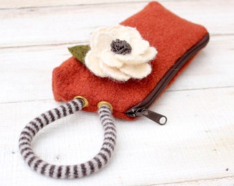 Boiled  Wool  Wristlet  in Rust and Brown with Detachable White Wool  Flower Brooch