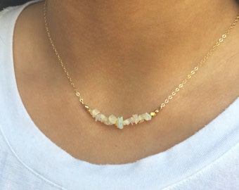 Opal Bar Necklace Dainty Layering Necklace Gold Fill Opal Jewelry Bridesmaids Gift Ethiopian Opal Necklace