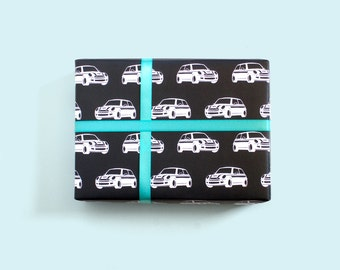 Mini Car Gift Wrap / Car Wrapping Paper / Cute Cars / Car Print / Black and White / Graphic Gift Wrap / Retro Cars / Mini Cooper
