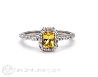 Yellow Sapphire Engagement Ring Emerald Cut Diamond Halo 14K or 18K White Yellow Rose Gold or Platinum Custom