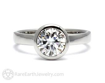 1ct Diamond Engagement Ring Solitaire Bezel GIA Certified Diamond Solitaire 14K or 18K Gold Platinum Palladium Conflict Free Engagement
