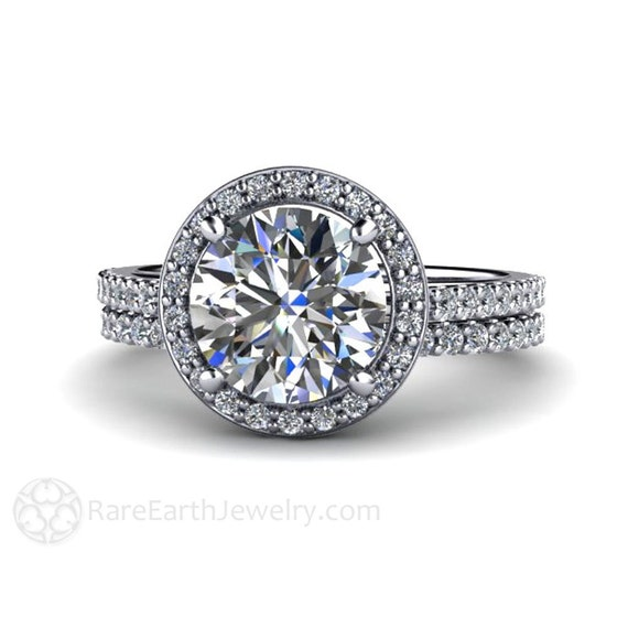 moissanite bridal set engagement ring wedding band moissanite With moissanite wedding ring sets