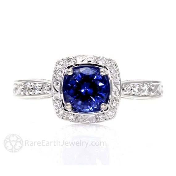 Art Nouveau Blue Sapphire Engagement Ring Diamond Halo Blue Sapphire Ring Vintage Custom Gemstone Ring 14K or Palladium