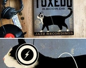 Tuxedo CAT records music art graphic illustration art on CANVAS PANEL by stephen fowler