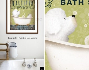 Maltipoo dog bath soap Company vintage style artwork by Stephen Fowler UNFRAMED Giclee Signed Print