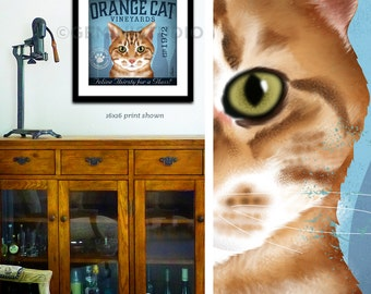 Orange Tabby Cat Wine Company graphic artwork giclee archival signed artist's print by Stephen Fowler