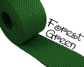 "Cotton Webbing - Forest Green - 1.25"" Medium Heavy Weight for Key Fobs, Purse Straps, Belting - SEE COUPON"
