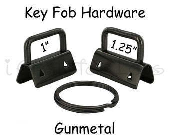 50 Key Fob Hardware with Key Rings Sets - 1 Inch or 1.25 Inch Gunmetal - Plus Instructions - SEE COUPON