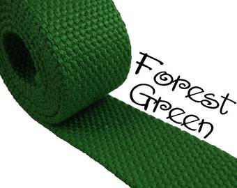 """Cotton Webbing - Forest Green - 1.25"""" Medium Heavy Weight for Key Fobs, Purse Straps, Belting - SEE COUPON"""