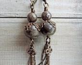 Rustic Ceramic Key Brass Dangle Earrings Natural Winterscape Filigree Published JLynnJewels Design Ceramic Vintaj Brass