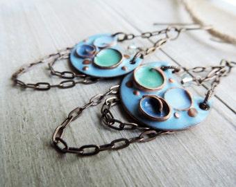 Enameled Chain Trapeze Chandelier Brass Swarovski Crystal Dangle Earrings - Blue Aqua Green Swirl Pools
