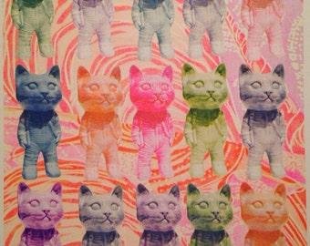 Astro Kitty risograph print