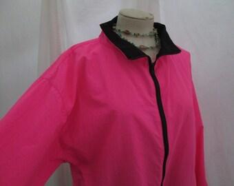 Surfer parka Hot Pink windbreaker 80s Vintage Pullover Parka Pink outdoor jacket Black Zipper nylon coat M