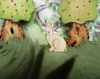 Wooden Bunny Toy Waldorf Nature Table - Forest animal