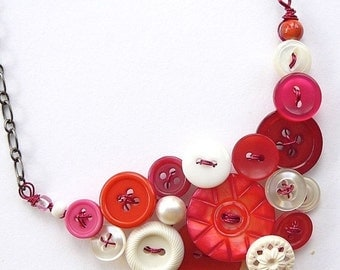 Gift Sale Pomegranate Pink and White Vintage Button Statement Necklace
