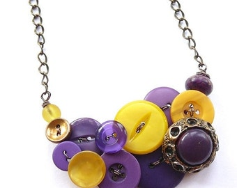 Winter sale Button Necklace in Mustard Yellow and Violet Purples