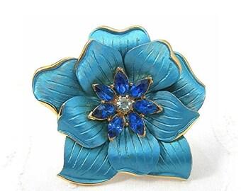"Metal Flower Brooch, Brilliant Blue, Rhinestone Center, Large 3"", Enameled Flower, Spring Pin, Vintage c1970s, Costume Jewelry"