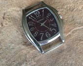 Clearance sale! Jumbo Watch Face in Maroon. Dark Brick Red Face could be for woman or man. Large Number Display. Ribbon Bar Watch Face