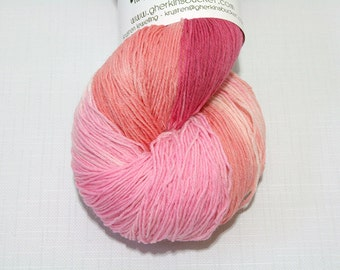 Hand Dyed Artisan Yarn, Hand Painted Heavy Lace Yarn, Varigated SW Merino Yarn, Long Stride (750yds) - Peachy Keen colorway (dyelot 11416)