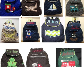 TODDLER Boys Backpack. CUSTOM Handmade and Embroidered or Applique'd with your choice of Design and Trim