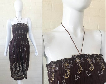90's VTG Mocha Brown Smocked Floral BOHO Sun Dress S
