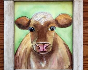 Geurnsey Dairy Cow Folk Art Painting