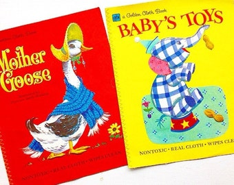 Story Time...  Two Vintage Classic Little Golden Books Little Golden Cloth Books Baby's Toys and Mother Goose