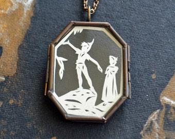 PETER PAN Locket - Hand-Cut Miniature Silhouette Papercut, Glass Locket Necklace