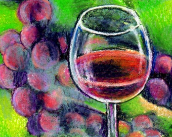 original art drawing aceo card wine glass grapes still life