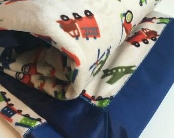 Baby Boy Minky Blanket Trains Transportation