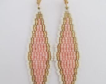 Bead Woven Earrings - Elongated Diamond - Peach/Cream