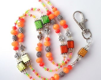 Bright Multicolor Beaded Lanyard with Honeybee Beads