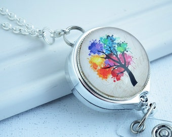 Silver Chain Badge Reel Lanyard - Rainbow Tree