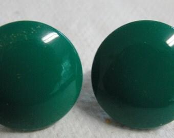 Green Round Metal Clip Earrings