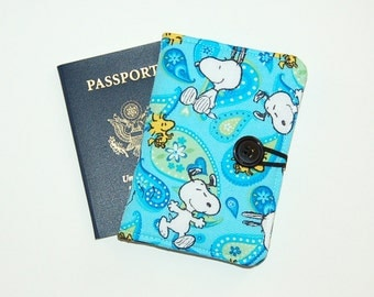 Passport Cover Wallet Travel Organizer - Handcrafted from Snoopy and Woodstock in Paisley Fabric