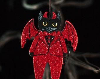 Little Devil Cat Halloween Original Painted Clay Folk Art Glitter Ornament