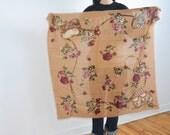 vintage Ralph Lauren scarf-Lauren Equestrian scarf-large shawl-Floral cotton scarf