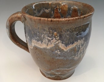 Coffee Mug Blue  Green  Brown  Cream  Handmade -Speckled  13 oz