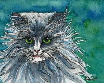 ACEO Long Hair Grey Cat with Green Eyes Original Watercolor & Ink Art