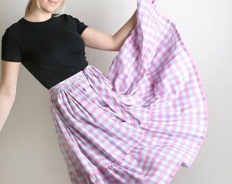ON SALE Vintage Country Skirt - Pastel Plaid Metallic Thread Tiered Ruffle Girl