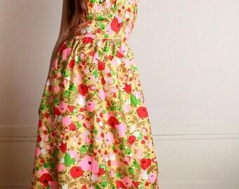 ON SALE Vintage 1960s Floral Maxi Dress - Bright Bold Flower Garden Cotton Halter Dress - Medium