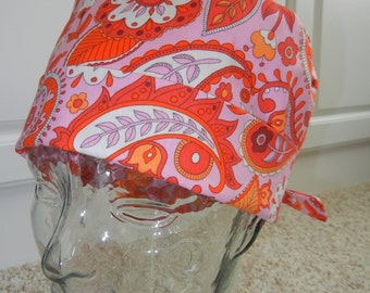 Tie Back Surgical Scrub Hat with Zesty Paisley