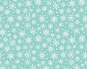 Christmas Fabric, Merry Matryoshka Cotton Fabric, Snowflake Fabric, by Riley Blake and Fabric Shoppe- Snowflake in Aqua. You Choose the Cut