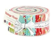 Sale Vintage Picnic fabric, Bonnie and Camille, Jelly Roll, Precut Fabric, Thimble Blossoms, Cotton Fabric, Strip Quilt, Learn to Quilt