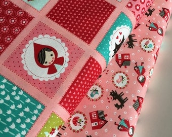 Little Red fabric, Cute fabric, Pink fabric bundle, Red riding hood fabric, Fabric by the Yard- Fabric Bundle of 2, Choose The Cuts