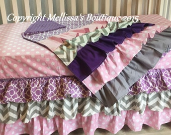 Custom Designer Pink Purple & Grey Posh 3 Tier Ruffled Crib Skirt and Ruffled Blanket Lux Crib Bedding Set MADE To ORDER