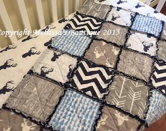 Designer Navy Blue & Grey Deer/Stag Arrows Woodgrain Boutique Rustic Baby Travel Rag Quilt Bedding MADE TO ORDER