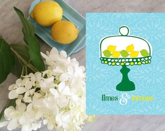 limes and lemons art, kitchen wall art, kitchen art print