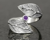 Sterling silver leaf ring with amethyst cabochon - elf pixie tribal boho